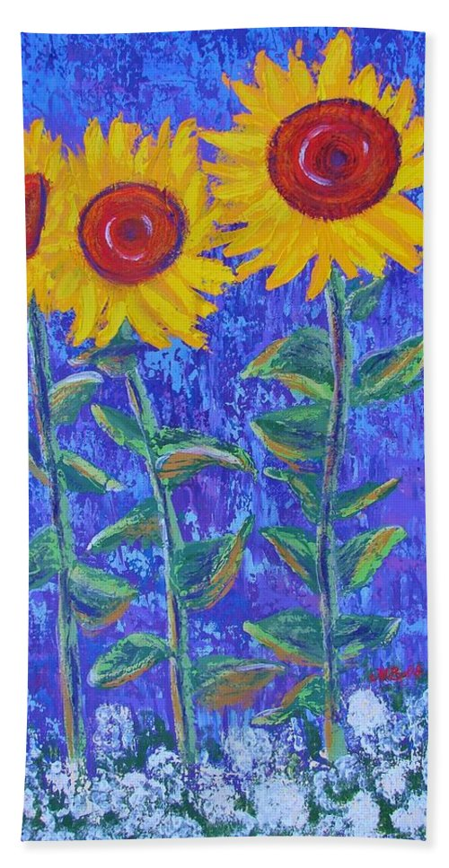 Sunflowers Beach Towel featuring the painting The Tall And Short Of It by Margaret Bobb