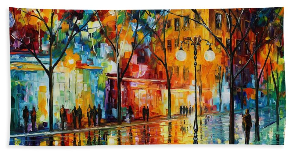 Leonid Afremov Beach Towel featuring the painting The Tears Of The Fall - Palette Knife Oil Painting On Canvas By Leonid Afremov by Leonid Afremov