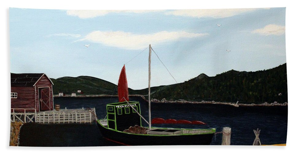 Barbara Griffin Beach Towel featuring the painting The Tekakwitha - Black Schooner by Barbara Griffin