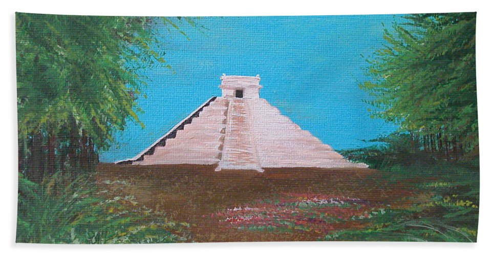 Landscape Beach Towel featuring the painting The Temple Of Kukulcan by Alys Caviness-Gober