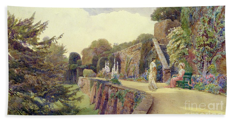 Garden Beach Towel featuring the painting The Terrace At Berkeley Castle by George Samuel Elgood
