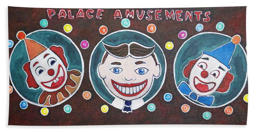Asbury Park Beach Towel featuring the painting The Three Amigos by Patricia Arroyo