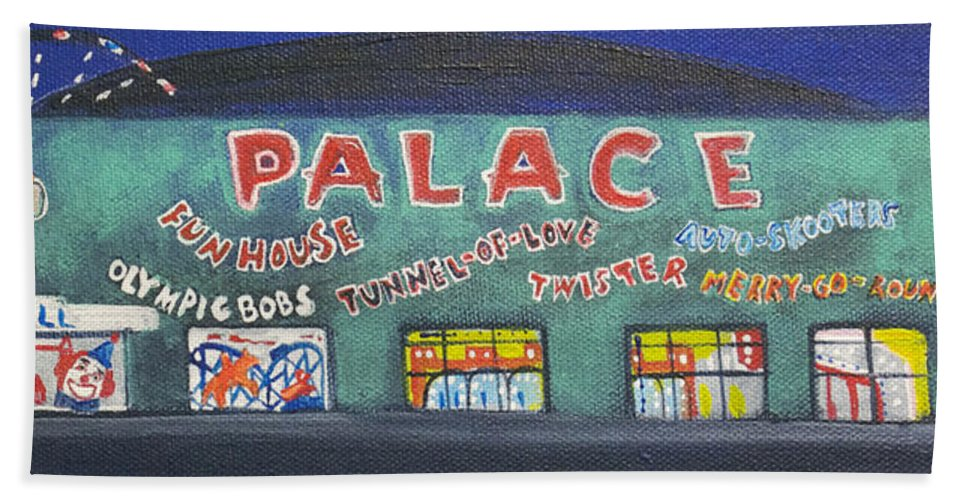 Tillie Of Asbury Park Beach Towel featuring the painting The Tiny Tiny Palace by Patricia Arroyo