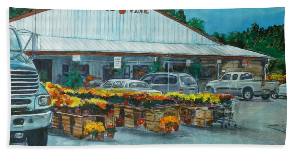 Vegetable Stand Beach Towel featuring the painting The Tomatoe Vine by Bryan Bustard
