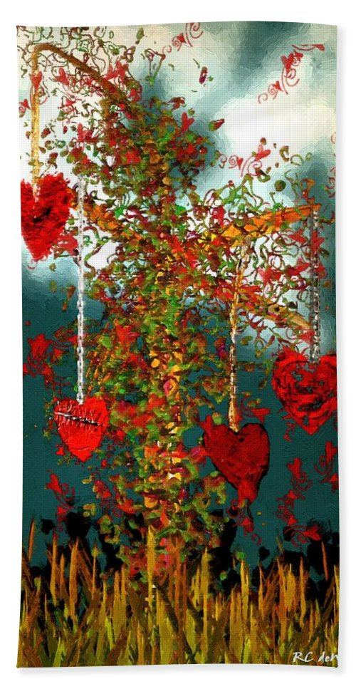 Hearts Beach Towel featuring the painting The Tree Of Hearts by RC DeWinter