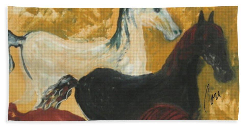Horse Beach Towel featuring the mixed media The Trio by Cori Solomon