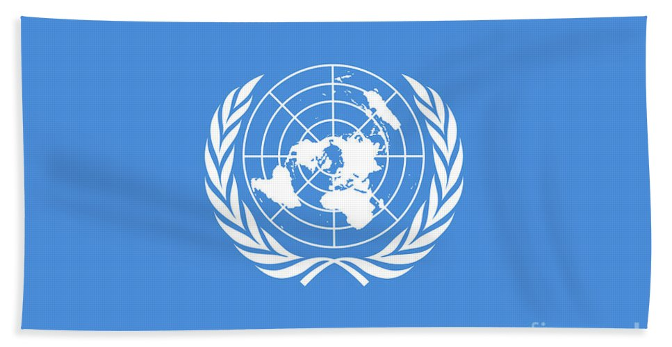 United Nations Beach Towel featuring the digital art The United Nations Flag Authentic Version by Bruce Stanfield