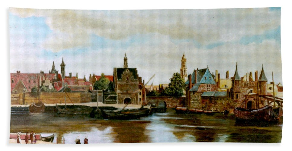 Henryk Beach Towel featuring the painting The View Of Delft by Henryk Gorecki