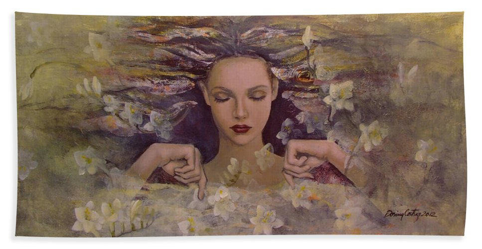 Fantasy Beach Towel featuring the painting The Voice Of The Thoughts by Dorina Costras