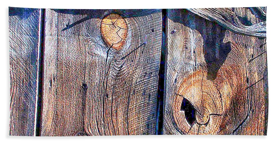 Weathered Beach Towel featuring the digital art The Weathered Abstract From A Barn Door by Bob and Nadine Johnston