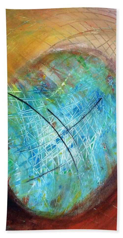 Abstract Art Beach Towel featuring the painting The Web Of Life by Aarti Bartake