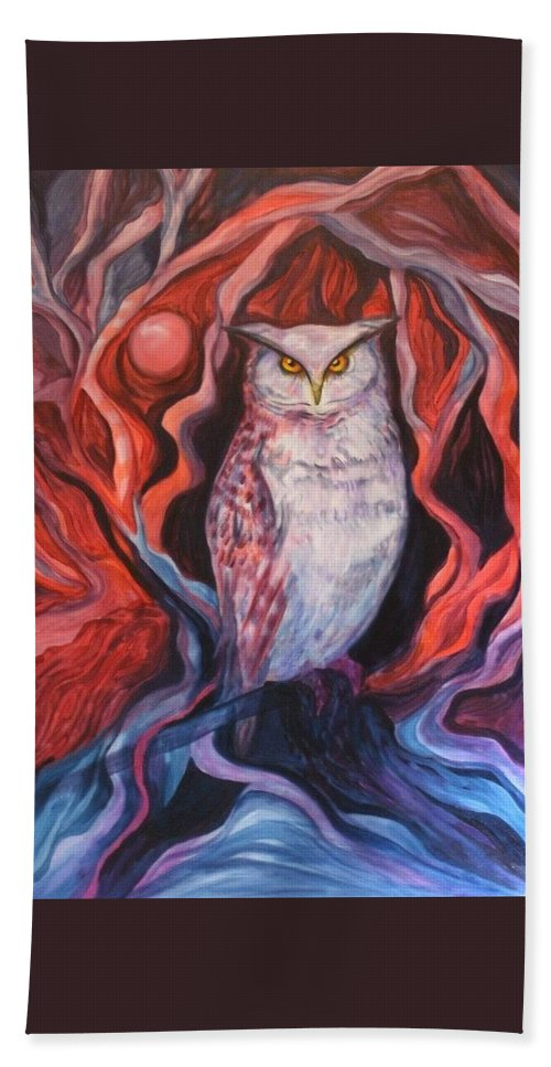 Owls Beach Towel featuring the painting The Wise One by Carolyn LeGrand