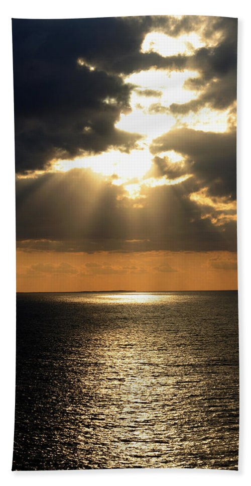 Sunset Beach Towel featuring the photograph Key West Sunset The Word by Bob Slitzan