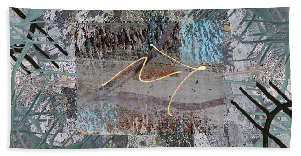 Abstract Beach Towel featuring the digital art The Writing On The Wall 13 by Tim Allen