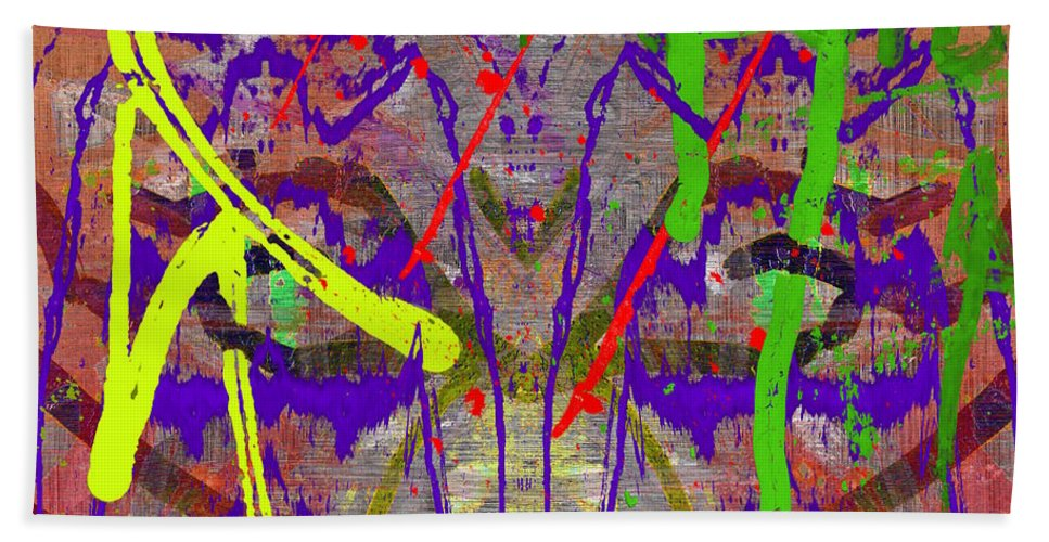 Abstract Beach Towel featuring the digital art The Writing On The Wall 14 by Tim Allen