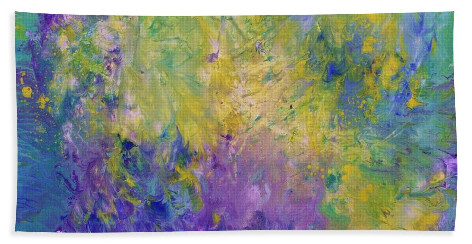 Energy Beach Towel featuring the painting Think On These Things. by Jewell McChesney