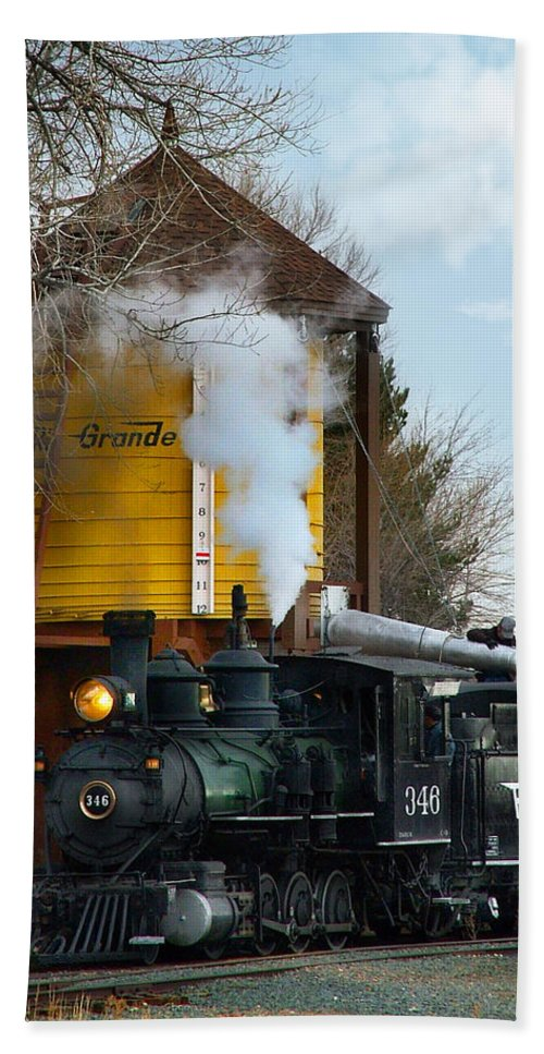 Steam Train Beach Towel featuring the photograph Thirsty by Ken Smith