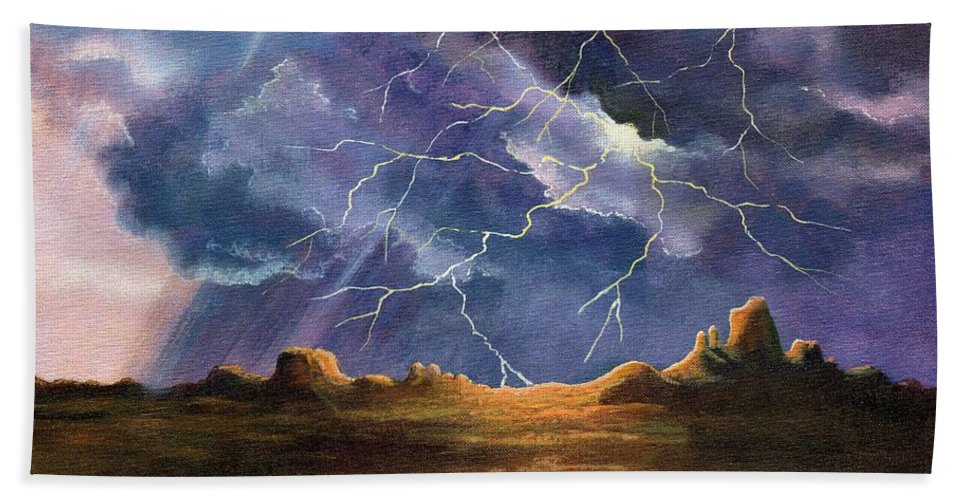 Thor's Fury Beach Towel featuring the painting Thor's Fury by Marilyn Smith