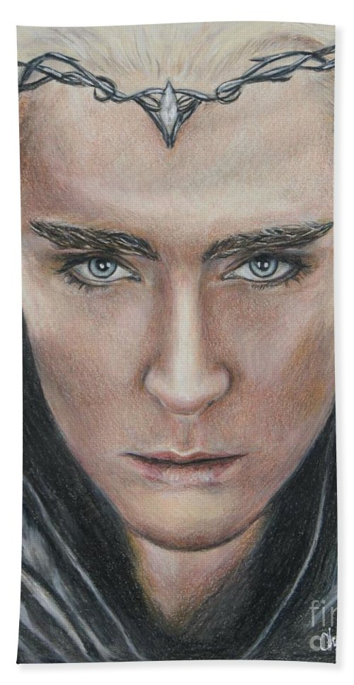 Hobbit Beach Towel featuring the drawing Thranduil / Lee Pace by Christine Jepsen