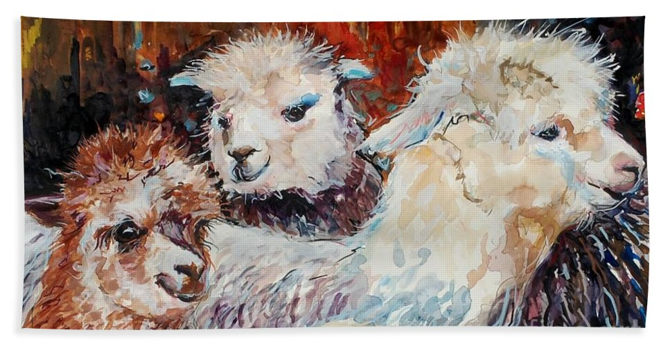 Alpaca Beach Towel featuring the painting Three Alpacas by Molly Poole