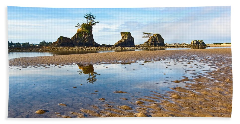 Three Brothers Beach Towel featuring the photograph Three Brothers Rock Formation Near The Oregon Coast by Jamie Pham