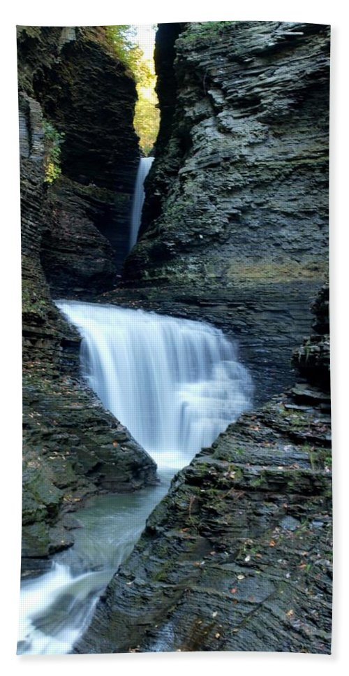 Watkins Glen Beach Towel featuring the photograph Three Falls In Watkins Glen by Joshua House