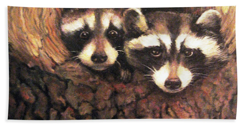 Nature Beach Towel featuring the painting Three Is A Crowd by Donna Tucker