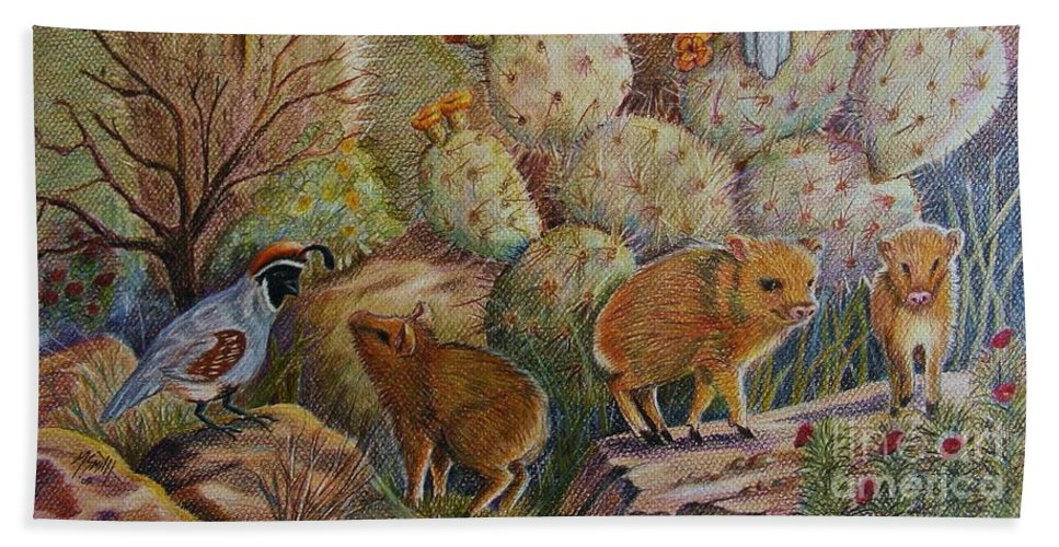 Desert Wildlife Beach Towel featuring the drawing Three Little Javelinas by Marilyn Smith