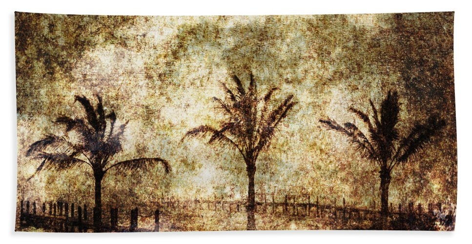 Palm Tree Beach Towel featuring the photograph Three Palms 6-2 by Skip Nall