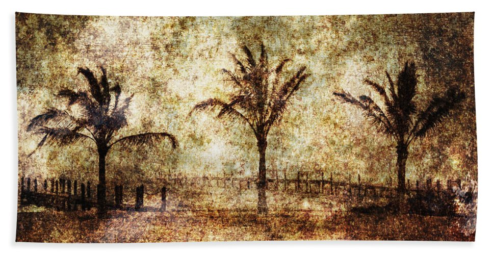 Abandoned Beach Towel featuring the photograph Three Palms 6 by Skip Nall