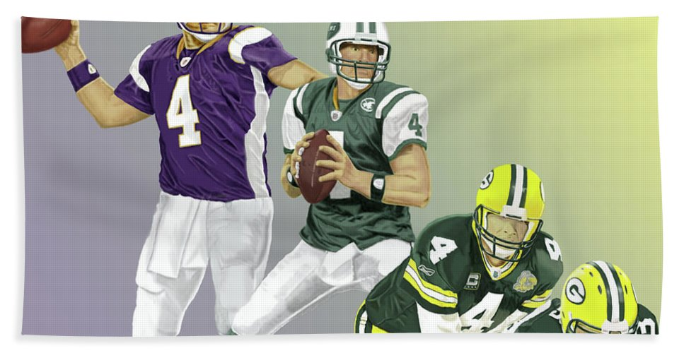 Football Beach Towel featuring the digital art Three Stages Of Bret Favre by Thomas J Herring