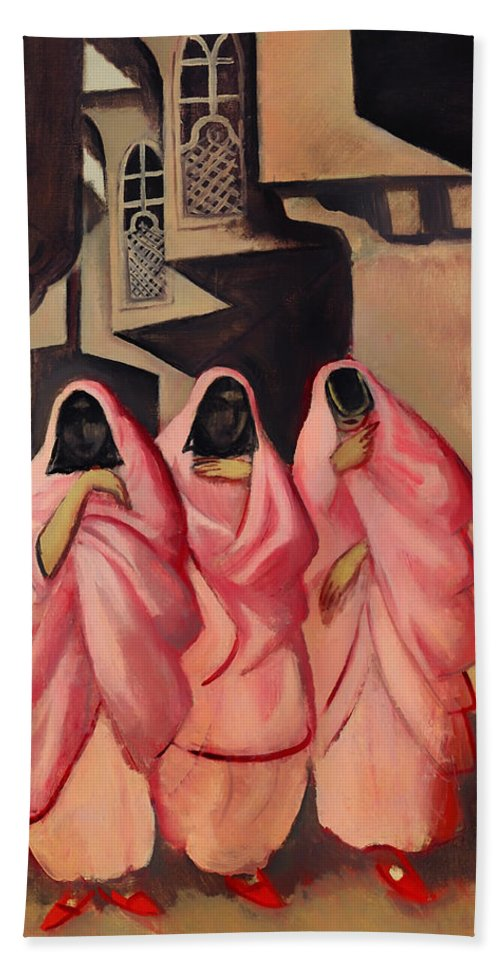 Painting Beach Towel featuring the painting Three Women On The Street Of Baghdad by Mountain Dreams