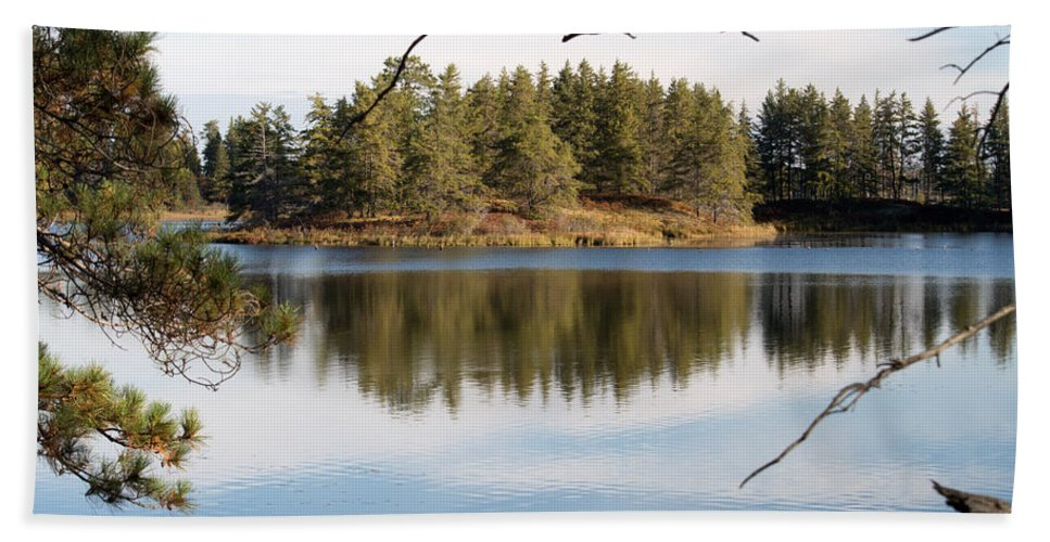 Upper Peninsula Beach Towel featuring the photograph Through The Frame by Linda Kerkau
