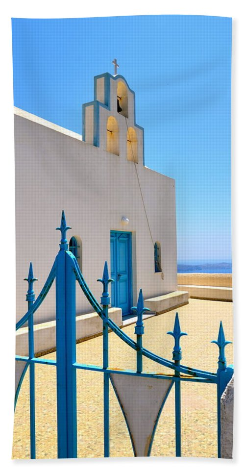 Santorini Beach Towel featuring the photograph Through The Gates by Corinne Rhode