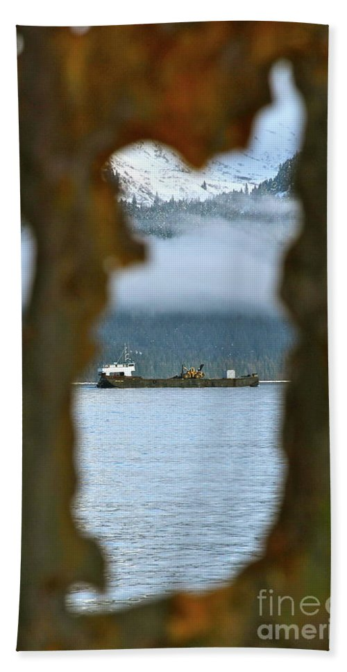 Boat Beach Towel featuring the photograph Through The Hole by Rick Monyahan