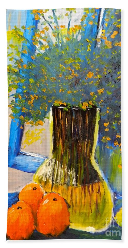 Nature Beach Towel featuring the painting Through The Window by Pamela Meredith