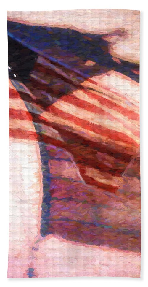 Flag Beach Towel featuring the painting Through War And Peace by Bob Orsillo
