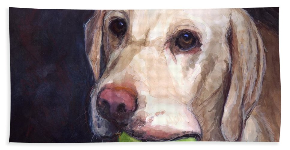 Yellow Labrador Retriever Beach Towel featuring the painting Throw The Ball by Molly Poole