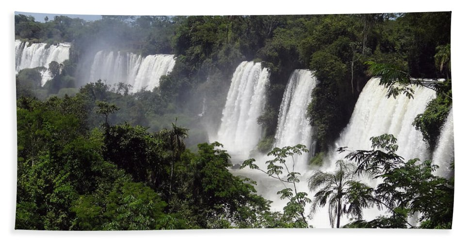 Waterfall Beach Towel featuring the photograph Thundering Falls by Ginny Barklow