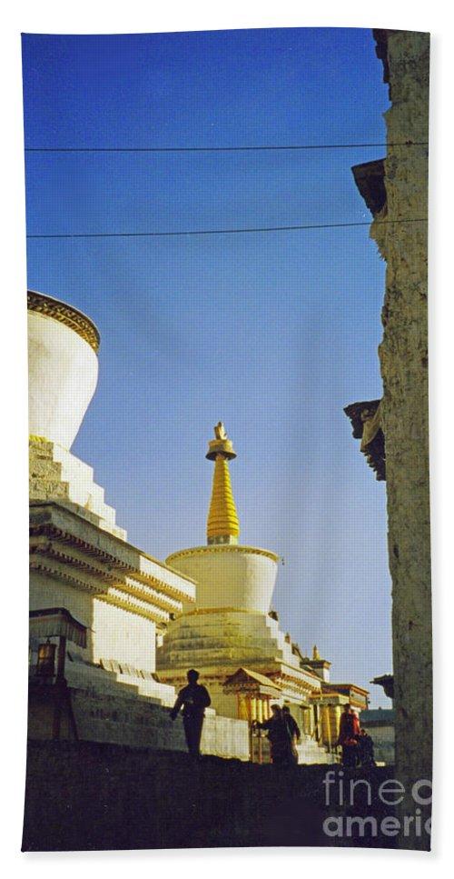 First Star Beach Towel featuring the photograph Tibet Stupas 1 by First Star Art