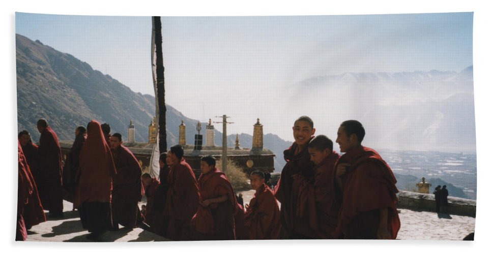 First Star Beach Towel featuring the photograph Tibetan Monks 2 by First Star Art