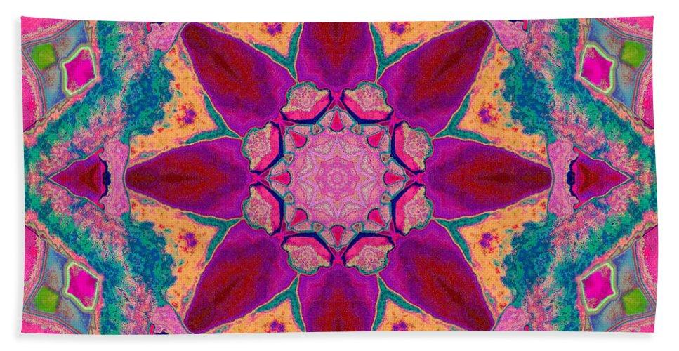 Mandala Beach Towel featuring the mixed media Tibetan Rose by SiriSat
