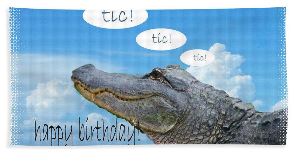 Birthday Card Beach Towel featuring the digital art Tic Tic Tic by Lizi Beard-Ward