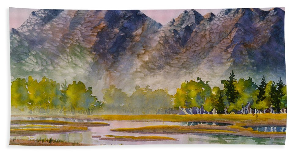 Tidal Flats Beach Towel featuring the painting Tidal Flats by Teresa Ascone