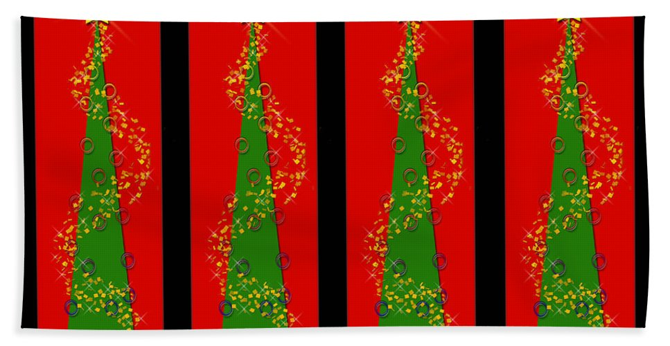 Christmas Beach Towel featuring the digital art Tidings From Trees by Lisa Knechtel