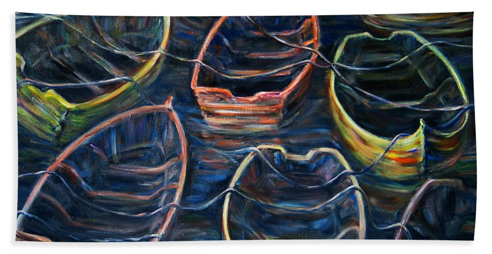 Landscape Beach Towel featuring the painting Tie Together In The Wind by Xueling Zou