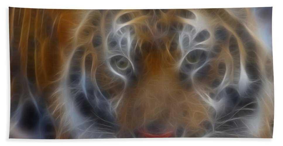 Tiger Beach Towel featuring the photograph Tiger-5316-fractal by Gary Gingrich Galleries