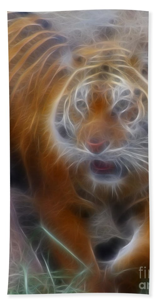 Tiger Beach Towel featuring the photograph Tiger-5362-fractal by Gary Gingrich Galleries