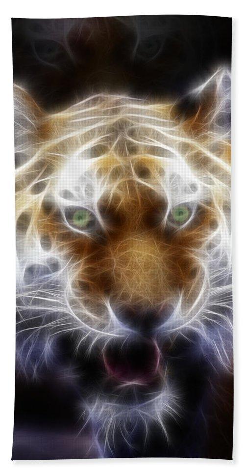 Tiger Beach Towel featuring the painting Tiger Greatness Digital Painting by Georgeta Blanaru