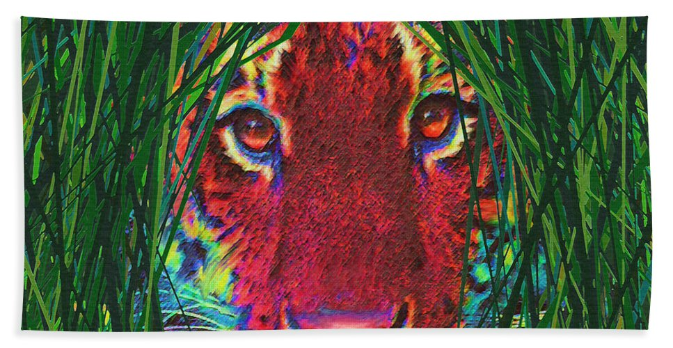 Tiger Beach Towel featuring the digital art Tiger In The Grass by Jane Schnetlage